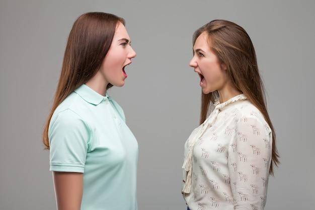 Duas garotas gritando uma com a outra