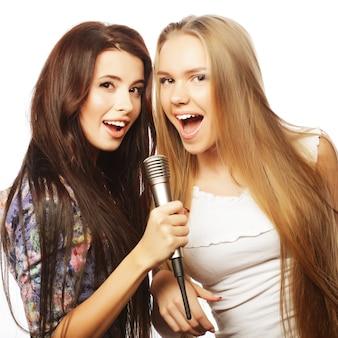 Duas garotas hipster de beleza com um microfone, cantando e tendo f