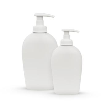 Duas garrafas de plástico brancas para sabonete líquido ou xampu, isoladas em um fundo branco. lugar para editar seu objeto ou texto.