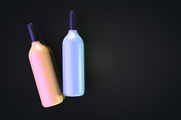 Duas garrafas de vinho coloridas encontram-se sobre uma mesa preta. vista de cima. copie o espaço.