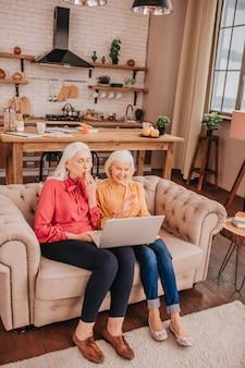 Duas idosas de cabelos grisalhos de aparência agradável que passam um tempo na internet