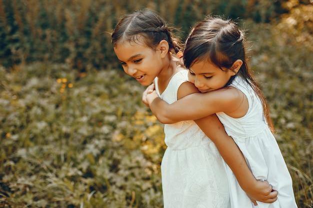 Duas irmãzinhas em um parque de verão