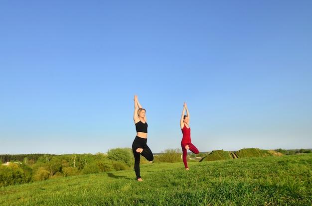 Duas jovens de cabelos louro em ternos de esportes praticar yoga em uma pitoresca colina verde ao ar livre à noite.