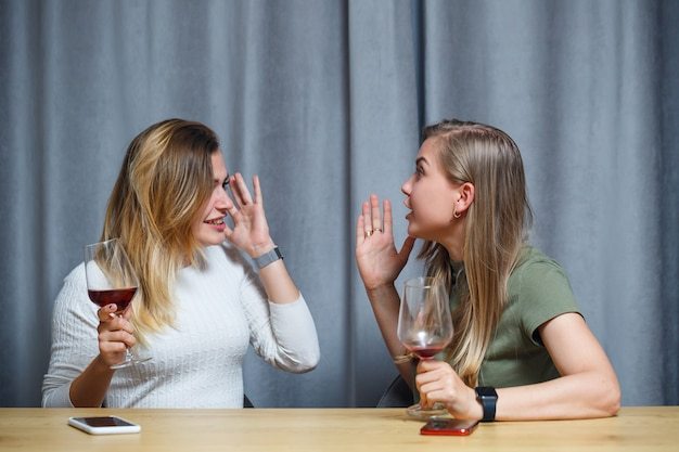 Duas jovens felizes são amigas com vinho, conversando na sala de estar de casa. companheiro de quarto de meninas conversando na mesa. mulheres europeias relaxam conversando em uma casa aconchegante.