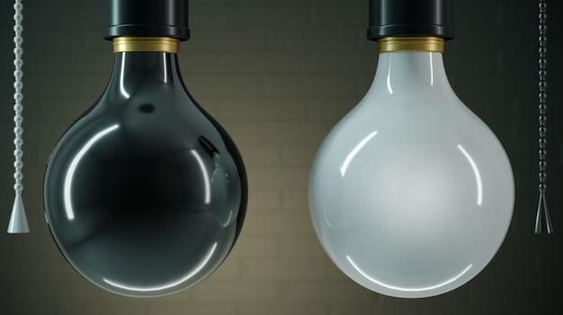 Duas lâmpadas preto e branco