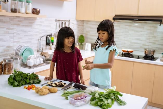 Duas lindas garotinhas preparando e cozinhando o jantar juntas na cozinha