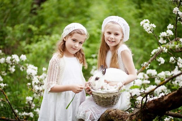 Duas lindas meninas brincando com coelho branco no jardim de flores de primavera. atividade divertida de primavera para as crianças. tempo da páscoa