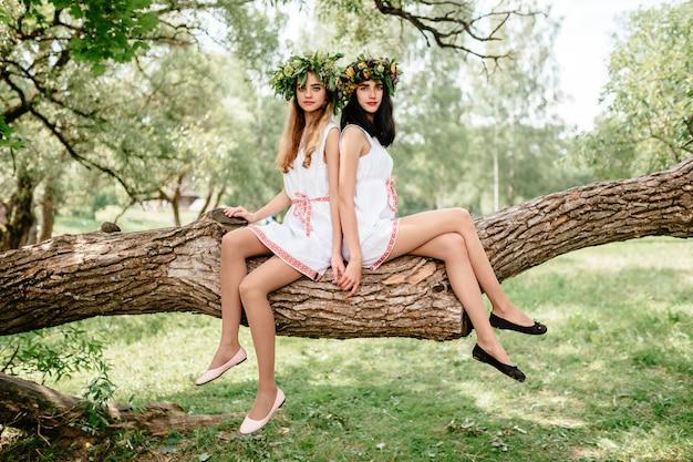 Duas lindas meninas em vestidos étnicos, sentado no galho de árvore.
