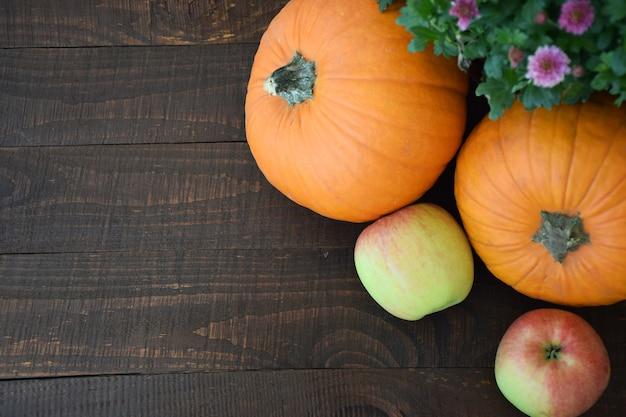 Duas maçãs e duas abóboras laranja no fundo da velha placa de madeira marrom. colheita de outono, conceito do dia de ação de graças.