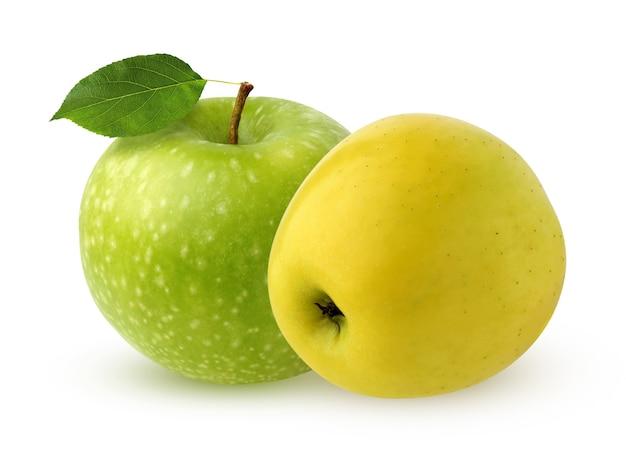 Duas maçãs isoladas na superfície branca. fruta inteira com sombra. maçãs amarelas e verdes.