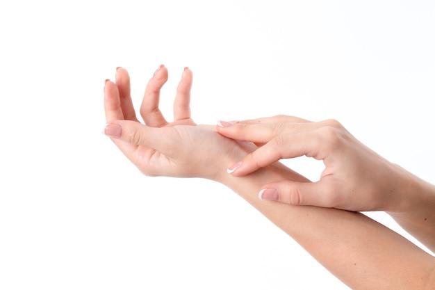 Duas mãos de mulheres atrás de uma contra uma, isoladas no fundo branco