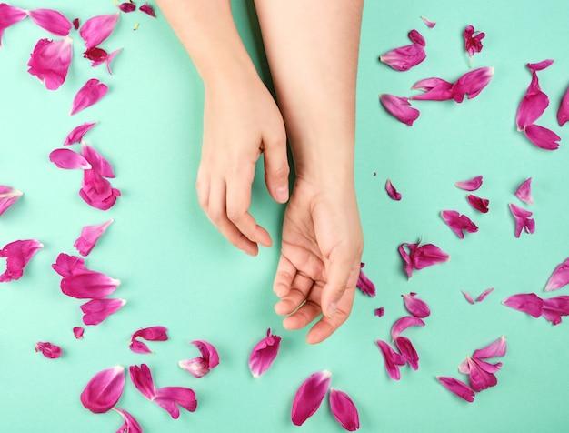 Duas mãos de uma jovem garota com pele lisa