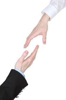 Duas mãos no branco
