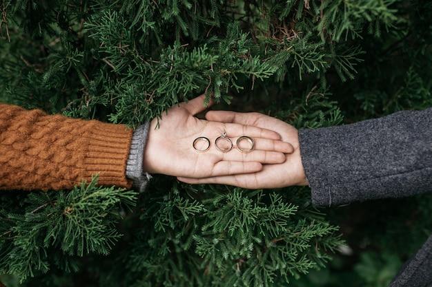 Duas mãos segurando anéis