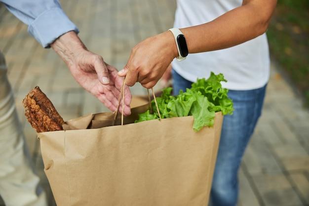Duas mãos segurando sacolas de papel com legumes e frutas