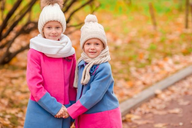 Duas meninas adoráveis no parque no dia ensolarado quente de outono