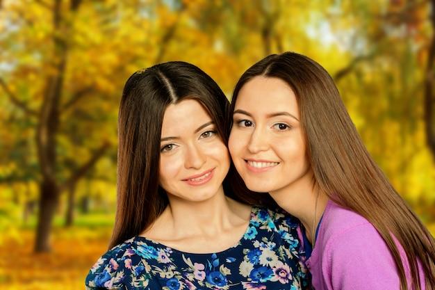 Duas meninas alegres gêmeos, no parque outono rua