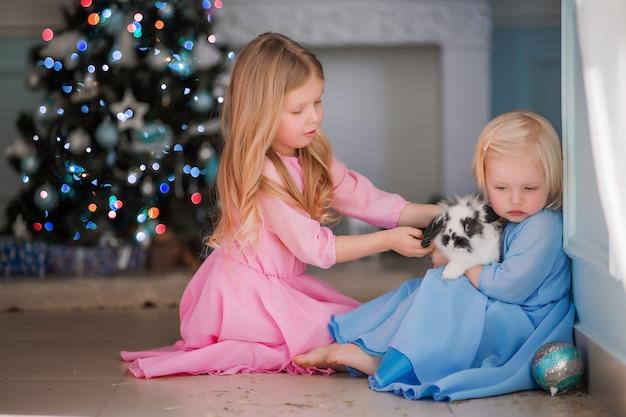 Duas meninas ao lado da árvore de natal