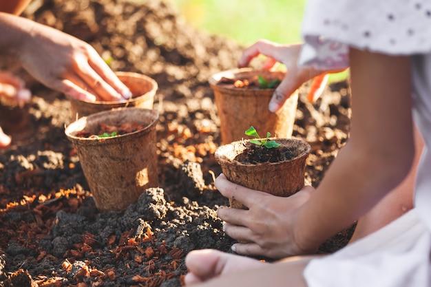Duas meninas asiáticas criança plantar mudas jovens em potes de fibra de reciclagem juntos no jardim