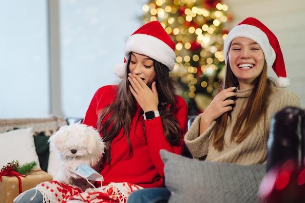 Duas meninas com um cachorro pequeno estão sentadas no sofá na véspera de ano novo.