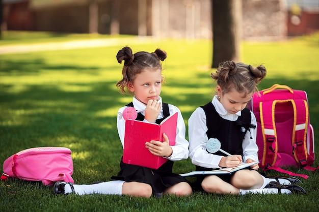 Duas meninas da escola pequena com mochila rosa sentado na grama, depois de lições e idéias de pensamento, ler livro e estudar lições, escrever notas, educação e conceito de aprendizagem