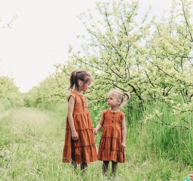 Duas meninas em vestidos idênticos caminham uma com a outra na primavera no pomar de maçãs. infância feliz