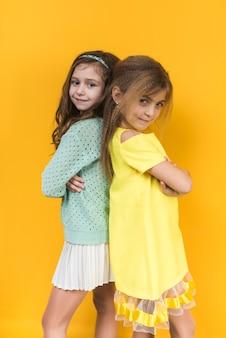 Duas meninas, ficar, com, braços cruzados