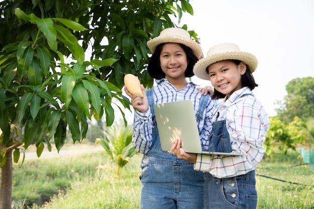 Duas meninas verificam e mantêm os produtos da fazenda de manga e usam um laptop computadorizado para verificar a qualidade. o agricultor é uma profissão que requer paciência e diligência. ser agricultor ou jardineiro