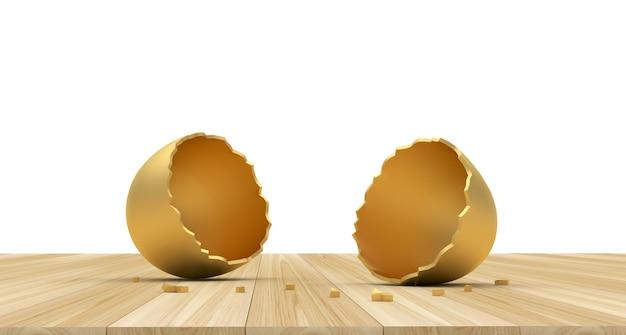 Duas metades vazias de um ovo de ouro quebrado