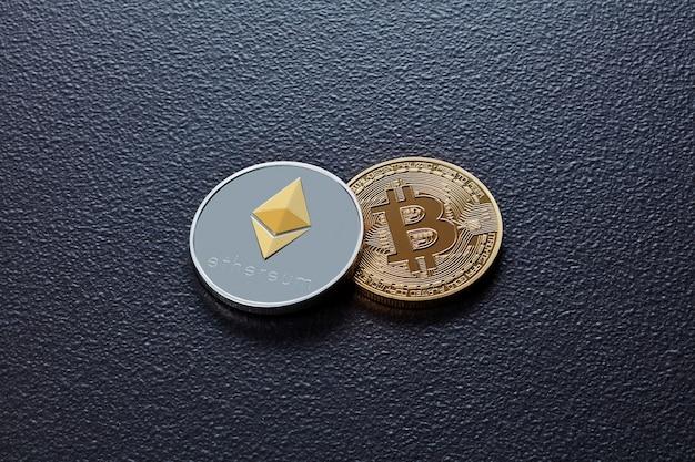 Duas moedas de criptomoeda eth, btc em um fundo preto de concreto. conceito de negócios, finanças e tecnologia.