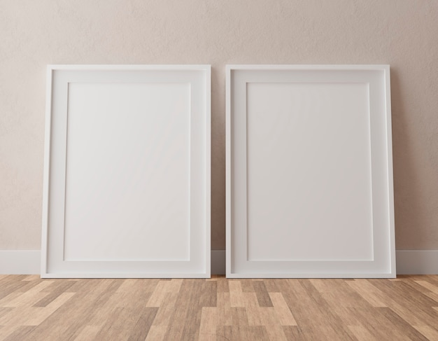 Duas molduras brancas verticais na parede bege