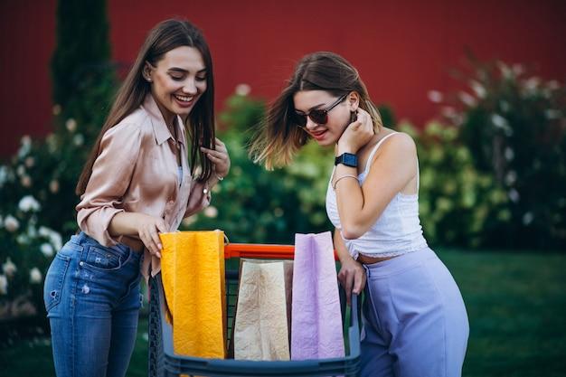 Duas mulheres às compras no mercado com carrinho de compras