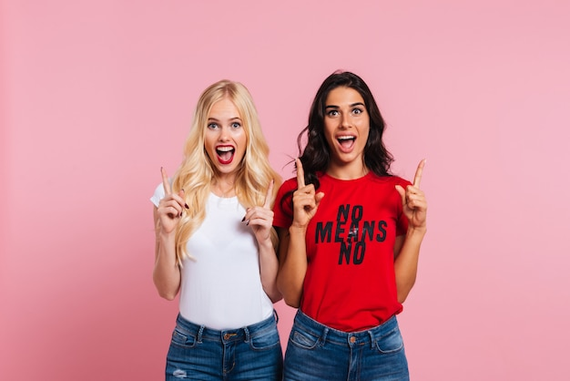 Duas mulheres gritando felizes mostrando o tamanho de algo e olhando para a câmera sobre fundo rosa