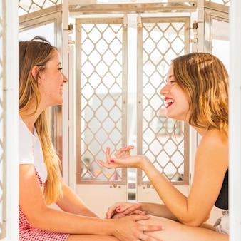 Duas mulheres jovens desfrutando dentro da cabine da roda gigante