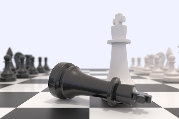 Duas peças de xadrez em um tabuleiro de xadrez. rei preto deitado e rei branco em pé. conceito de vitória, competição, discussão, acordo e confronto. ilustração 3d.