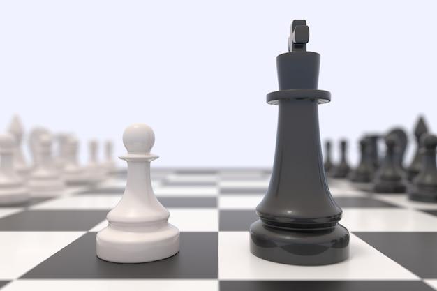 Duas peças de xadrez em um tabuleiro de xadrez. reis preto e branco frente a frente. conceito de competição, discussão, acordo ou oposição e confronto.