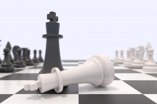 Duas peças de xadrez em um tabuleiro de xadrez