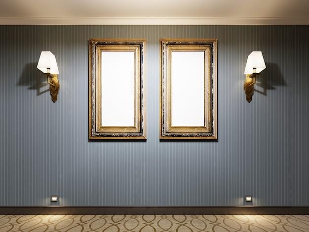 Duas pinturas vazias em uma moldura de ouro em uma parede azul com arandelas, pôster de maquete. renderização 3d.