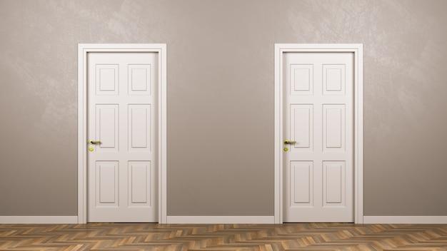 Duas portas brancas fechadas na frente da sala