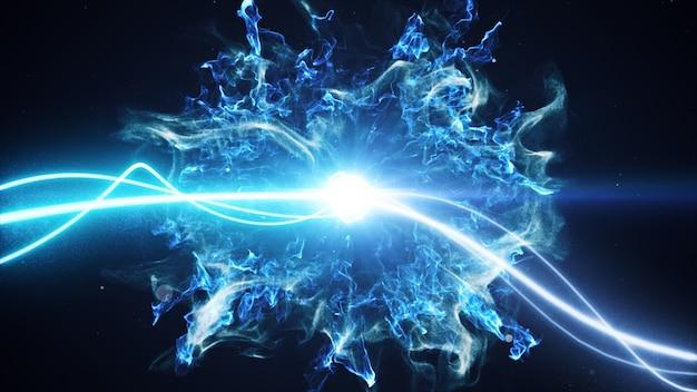 Duas raias de luz azul surgem em um fundo preto com partículas de fumaça e luz e explodem no espaço ao interagir umas com as outras ilustração 3d