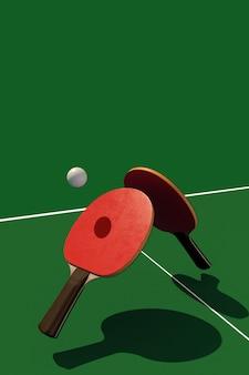 Duas raquetes de tênis de mesa ou ping pong e bola em uma mesa com ilustração 3d líquida