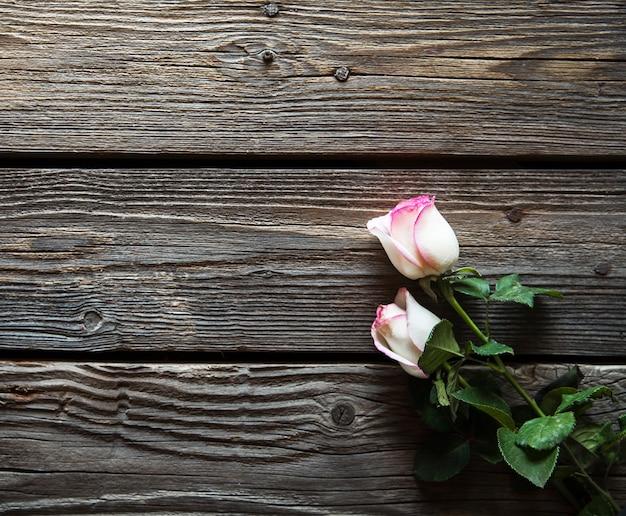 Duas rosas frescas florescendo na mesa de madeira com espaço de cópia. flores