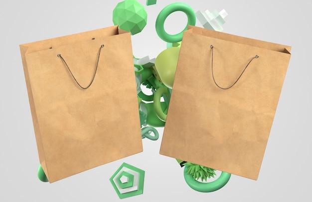 Duas sacolas de papel 3d com elementos verdes