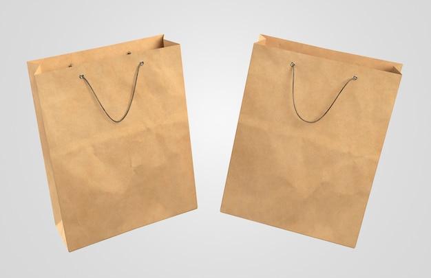 Duas sacolas de papel 3d