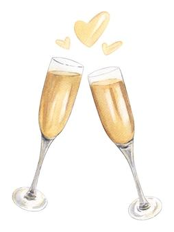 Duas taças de champanhe com salpicos em forma de coração. ilustração em aquarela desenhada à mão