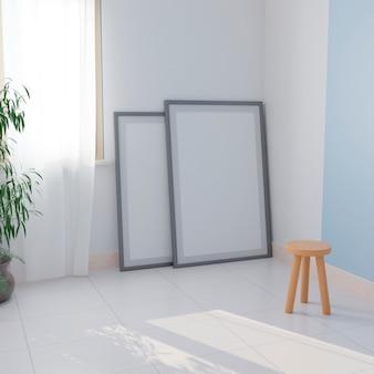 Duas telas brancas no chão