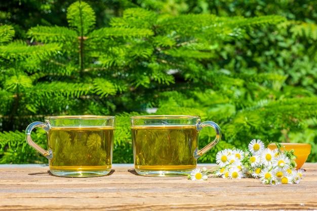Duas xícaras de chá de camomila verde, mel em uma tigela e um buquê de camomila em um close-up da mesa ao ar livre em um dia ensolarado de verão, em um fundo verde natural com espaço de cópia