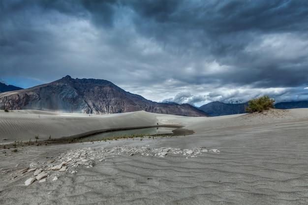 Dunas de areia no himalaia. hunder, vale de nubra, ladakh