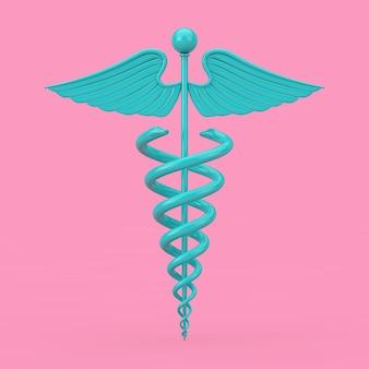 Duotone de maquete de símbolo de caduceu médico azul sobre um fundo rosa. renderização 3d Foto Premium