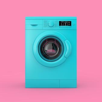 Duotone moderno da máquina de lavar roupa azul sobre um fundo rosa. renderização 3d